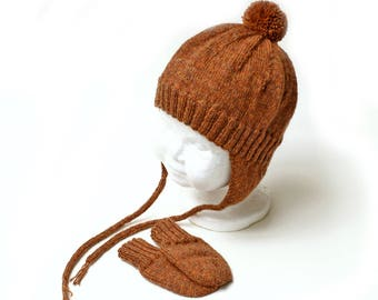 Baby Earflap Hat and Thumbless Mitten Set. 6 to 9 Months. Gender Neutral. Warm Wool Blend. Rusty Brown Tweed. Aviator Hat. Knit Tweed Cap