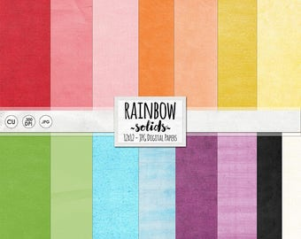 Rainbow Digital Paper, Solid Cardstock Backgrounds, Red, Orange, Yellow, Green, Blue & Purple, Colorful Celebration, St Patrick's