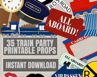 35 Train Party Printable Props, conductor train themed party diy photo booth props, train station photobooth photo props, instant download