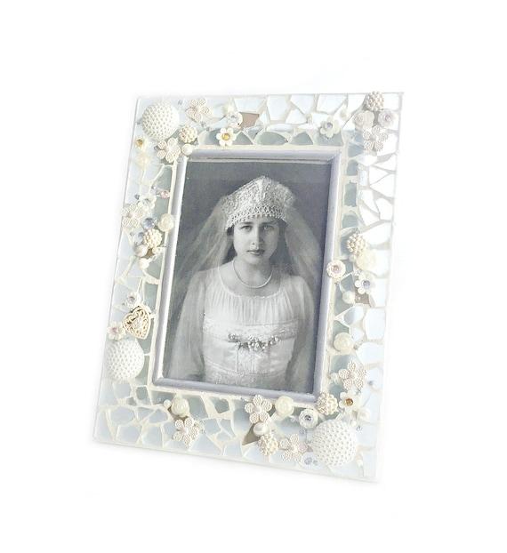 Frosted Glass Mosaic Frame, Wedding White Frosted Glass Mosaic Frame, Wedding Mosaic Photo Frame,  4 x 6 Embellished Bridal Wedding Frame