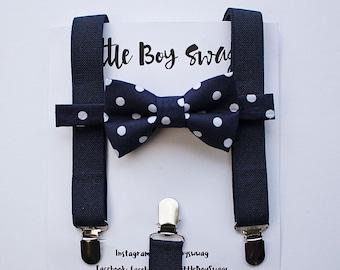 Navy Suspenders Navy Polka Dot Bow Tie for Boys, 1st Birthday Boy, Ring Bearer Outfit, Boys Suspenders Bow Tie, Wedding, Boys Formal Wear