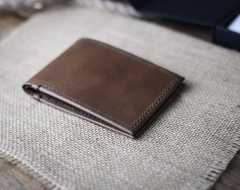 BillHolds Collection - Handmade Wallet Perfection - Ultra Thin, Premium Vegtan Leather, Minimalist Front Pocket Design, Saddle Stitching