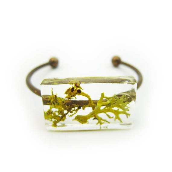 Botanical Moss and Lichen Resin Terrarium Cuff