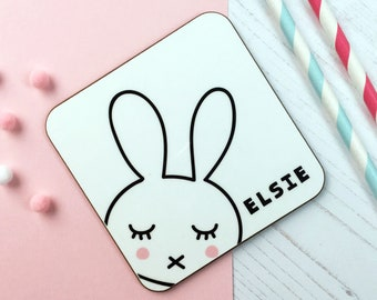 Bunny  Coaster - Name Coaster -  Monochrome Bunny Personalised Gift - Gift For her - Kids Tableware