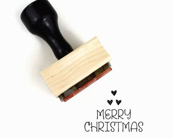 Merry Christmas Stamp, Wood Mounted DIY Holidays Triangle Rubber Stamp