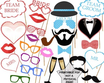 Wedding Signs Photo Booth Props Printable props Bridal shower props Wedding  props Props team bride props team groom props mr mrs signs