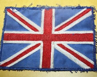 Vtg Union Jack U.K. British Flag Sew-on Embroidered Patch