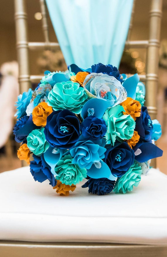 Custom Paper Flower Wedding Bouquets. You Pick The Colors, Papers, Books, Etc.  Anything Is Possible. CUSTOM ORDERS WELCOME