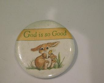 Vintage Cute Little Bunny Rabbit That Reads God Is Good DR24