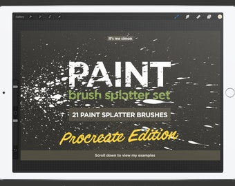 Procreate paint brush splatter set for the iPad Pro, 21 paint splatter effects, digital painting effects for the iPad Pro, Procreate App.