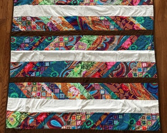 Handmade Bohemian Feather quilt bright bold
