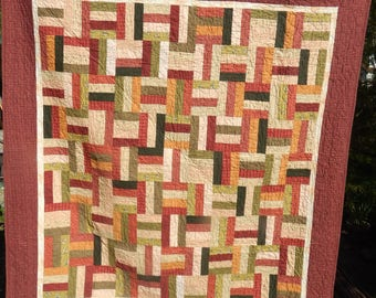 Rail Fence Quilt in Red & Green
