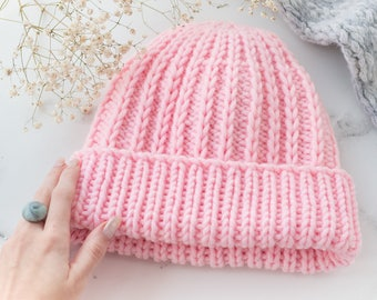 Super Chunky, Chunky Knit Hat, Pink Knit Hat, Outdoor gift, Gift For Her, Hand Knit Hat, Chunky Knit Beanie, Knitted Hat for Women