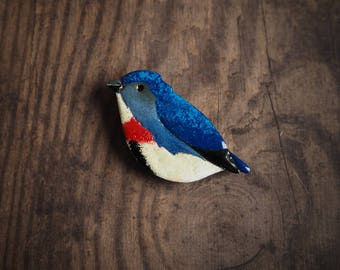 Fire breasted flowerpecker brooch, blue bird brooch, enameled copper pin, nature inspired, gift for her, cute bird pin, gift for good luck