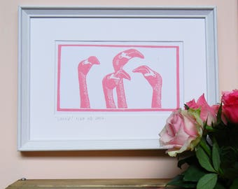 Gossip -  lino cut of flamingoes