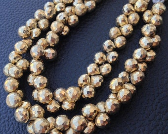 Brand New, GOLDEN PYRITE Micro Faceted ONIONS,7-7.5mm 1/2 Strand,Amazing Quality,Finest Item