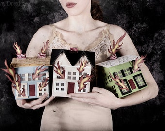 Every Home Shes Ever Built - FREE SHIPPING Surreal Photo Print Fine Art Dark Art Paper Burning Houses Fire Woman Flames Dark Creepy Pink