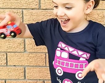 Girl Firetruck Shirt, Pink Firetruck, Girl Firetruck Party, Firetruck for Girls, Firetruck, Firetruck Shirt, Girls T Shirt, Girl Fire Engine