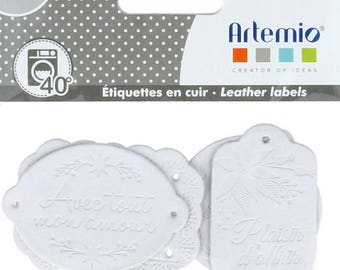 Maxi lot 4 leather sewing - white beaded - pleasure of giving with love from 3 to 5.5 cm - 4 pcs artemio labels