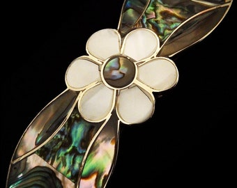 Eight Petal Daisy Abalone Hair Barrette