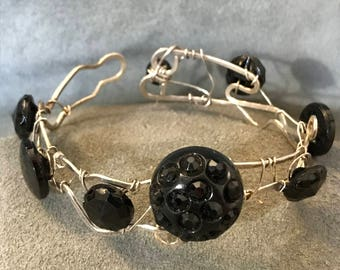 Vintage Glass Buttons and Sterling Silver Bracelet