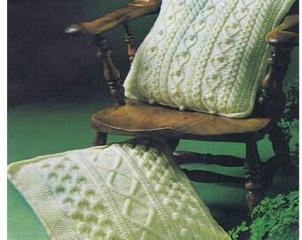 Pillow Pattern Vintage Cushion Cover Pattern Pillow Case Pattern Home Decor Knitting Pattern Aran Cushion Patterns Aran Pillows Pattern