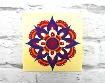 Flower mandala wooden plaque - mandala painting - spiritual wall decor - flower wall art - mandala art - Buddhist art - spiritual gift