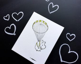 Parachuting Hippo