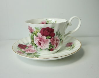 Allyn Nelson  Bone China Roses with Gold Rim Cup and Saucer set