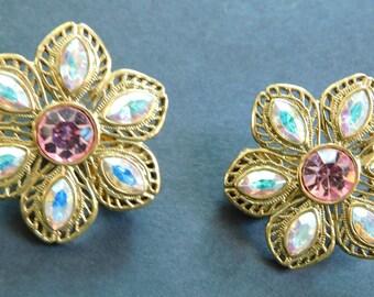 Vintage Pink Rhinestone Flower Clip On Earrings