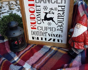 Framed Rudolph Christmas sign • reindeers • wood signs •