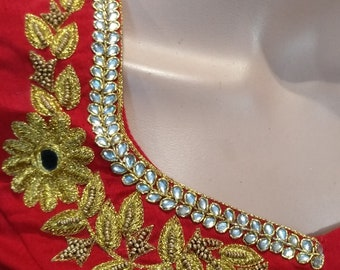 Designer embroidery blouse in Red