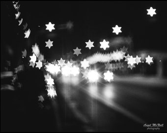 Stars, city lights, abstract photography,  black and white, night photography,  bokeh, sparkle, fine art photography print
