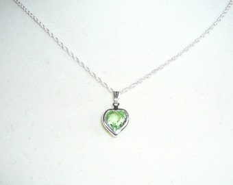 Tiny Heart Necklace, August Birthstone necklace, Swarovski crystal heart in peridot