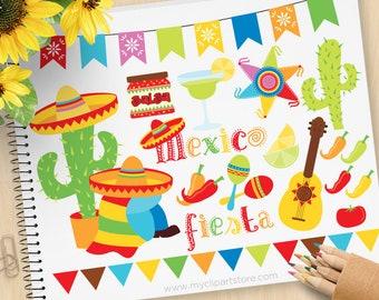 Cinco De Mayo Clipart, Fiesta, Mexico, maracas, bunting, sombrero, piñata, chilli peppers, cactus, commercial use, vector clipart, SVG Files