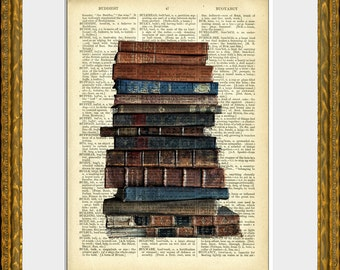 OLD STACK of BOOKS dictionary art print - an upcycled antique dictionary page with photograph of old books - vintage charm wall decor