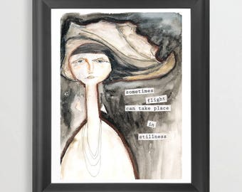 Flight in Stillness. Watercolor. Inspritional Print. Abstract Woman