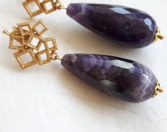 Amethyst earrings, gemstone earrings, drop earrings