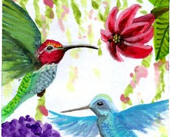 Art Print, Hummingbird painting, Watercolor art, Hummingbird Pair, Bird Art, wildlife Art, animal art, wall art, home decor Item #HBPP-2015
