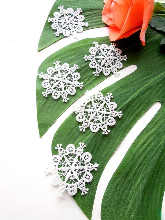 10 White snowflake lace appliques  Winter wonderland lace appliques  White lace embellishments  Ski theme decorations  Sew in lace applique