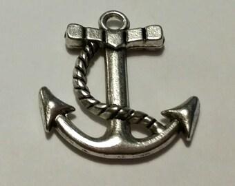 Silver Anchor Charm - 10 pcs. - Anchor Charms - 3D Anchors - Sea Charms -  Ocean Charms - Anchors - Anchor Pendants - Silver Anchor Pendant
