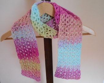 """Hand Crochet Scarf 55"""" by 5"""" Variegated Scarf Pink, Blue, And Yellow Scarf"""