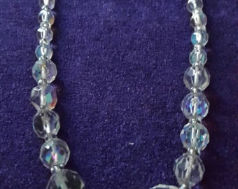 Lovely c 1930s 40's Aurora Borealis Glass Bead Necklace