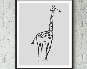 Black and White, Nursery Print, Giraffe, Animal Print