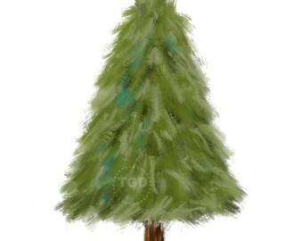Evergreen Tree Clip Art, Hand painted clip art, evergreen graphic, pine tree clip art, winter tree art