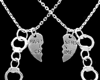 Best Friend Necklace, Best Friend Gift, Partners In Crime Necklace, Handcuff Split Heart Best Friend BFF Sisters Necklace Set