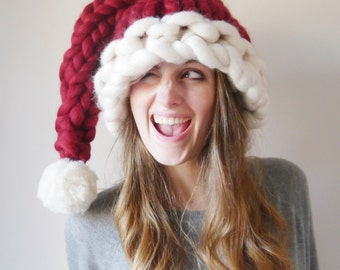Chunky knit Santa Hat - Knitted Christmas hat - hand knitted chunky red and white christmas hat  Womens gift mens gift - Festive Holiday hat