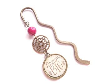 Dream Big Bookmark, Inspirational Bookmark, Brass Bookmark, Pink Bookmark, Metal Bookmark, Reader Gift, Teacher Gift, Gift For Her