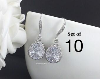 Set of 10 Wedding Earrings Crystal Dangle Earrings Bridal Earrings Bridal Jewelry Gift for Her Cubic Zirconia Earrings Maid of Honor Gift