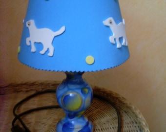 Blue Dog decor bedside lamp.